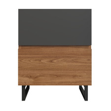 Walnut & Grey Johnson Side Table with 2 Drawers