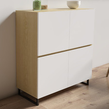 Natural & White 4 Door Moore Sideboard