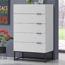 White Jeremy 5 Drawer Chest