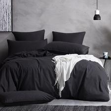 Charcoal Modern Cotton Corduroy Quilt Cover Set