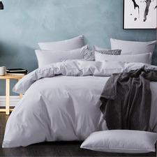 Silver Modern Cotton Corduroy Quilt Cover Set