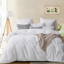 White Modern Cotton Corduroy Quilt Cover Set