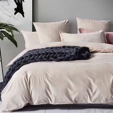 Beige Super Soft Corduroy Velvet Reversible Quilt Cover Set
