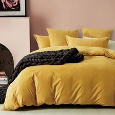 Mustard Super Soft Corduroy Velvet Reversible Quilt Cover Set