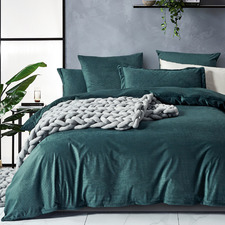 Forest Green Super Soft Corduroy Velvet Reversible Quilt Cover Set