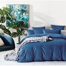 Blue Super Soft Corduroy Velvet Reversible Quilt Cover Set