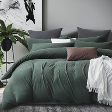 Forest Green Jersey Cotton Quilt Cover Set