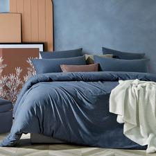 Blue Marble Jersey Cotton Quilt Cover Set
