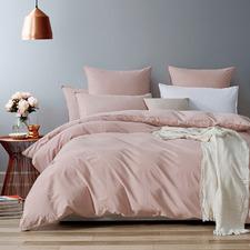 Pink Vintage Washed Cotton Quilt Cover Set