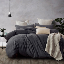Black Marble Jersey Cotton Quilt Cover Set