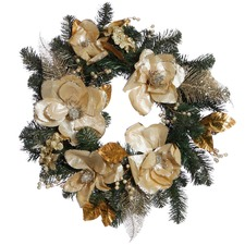 Large Champagne Gold Faux Magnolia Wreath