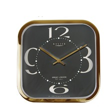 Gold & Black Square Metal Wall Clock