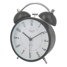 11.4cm Black Round Metal Bell Alarm Clock
