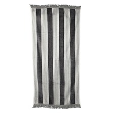 Coal Fringed Cotton Beach Towel