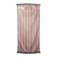 Dusty Pink Fringed Cotton Beach Towel