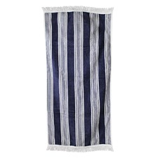 Navy Fringed Cotton Beach Towel
