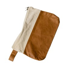 Zipped Utility Cotton & Leather Pouch