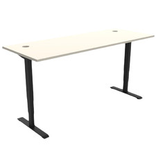 White Gregor Height Adjustable Desk with Cable Holes