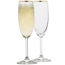 Selene Gold Trim Champagne Glasses (Set of 4)