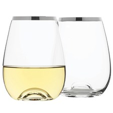 Selene Platinum Trim Stemless Wine Glasses (Set of 4)