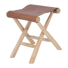 Vivienne Teak & Faux Leather Folding Stool