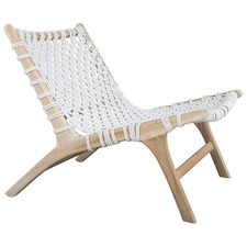 White Heather Teak & Rope Chair