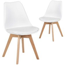 Nova Beech & Faux Leather Dining Chairs (Set of 2)