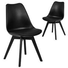 Black Nova Beech & Faux Leather Dining Chairs (Set of 2)