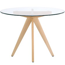 Round Clear Top Dining Table