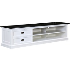Hamptons TV Entertainment Unit Large with Black Top