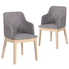 Grey Cassie Upholstered Dining Chair Set of 2