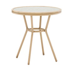 Taupe & White Paris Wicker Cafe 70cm Round Dining Table