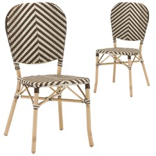 Taupe & White Paris Faux Wicker Cafe Dining Chairs (Set of 2)