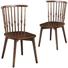 Set of 2 Walnut Fan Back Dining Chair