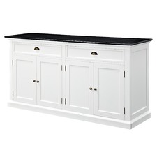 Hamptons Large Sideboard Buffet - Black Top