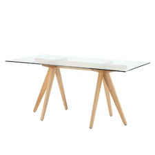 Rectangular Clear Top 160cm Trestle Dining Table