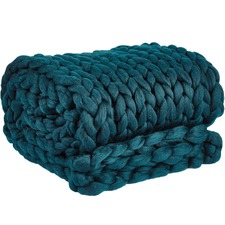 Ink Blue Chunky Knit Throw