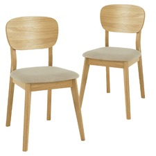 Nordic Dining Chairs with Fabric Seats (Set of 2)