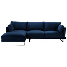 3 Seater Navy Velvet Zanda L-Shaped Sofa
