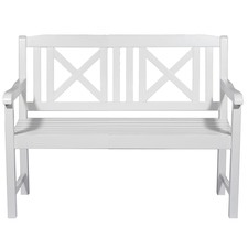 White Santa Cruz 2 Seater Acacia Wood Outdoor Bench