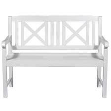 White Santa Cruz 2 Seater Outdoor Timber Bench