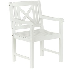 White Santa Cruz Acacia Wood Outdoor Armchair