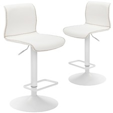 Frosted White Boston Adjustable Barstools (Set of 2)