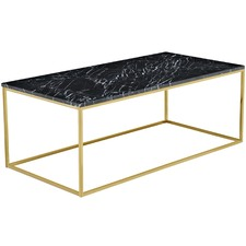 120cm Black Siena Marble Coffee Table