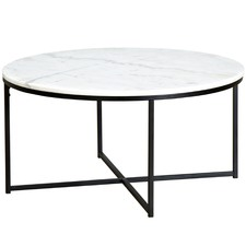 80cm Round White Siena Marble Coffee Table