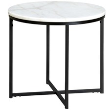 50cm Round White Siena Marble Side Table