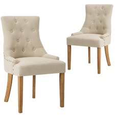 Beige Windsor Scoop Back Dining Chairs (Set of 2)