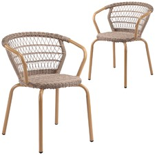 Brown Raffles PE Rattan Outdoor Dining Chairs (Set of 2)