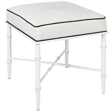 White Panama Linen Upholstered Stool