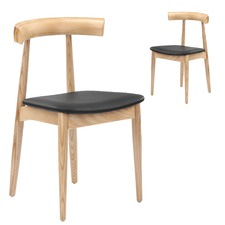 Scandi Ash Dining Chairs with PU Seats (Set of 2)